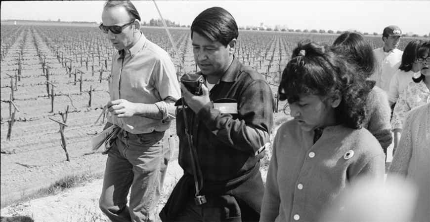 Cesar Chavez during the march from Delano to Sacramento in 1966.